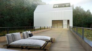 Część prywatna budynku z wyjściem na taras zaprojektowany na dachu niższego budynku. Dom jednorodzinny typu stodoła. Biuro BIAMS. Projekt i wizualizacje: Marcin Sieradzki (BIAMS)