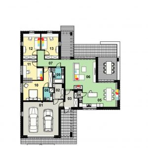 Parter: 142,69 m2 1. garaż* – 42,10 m2 2. kotłownia* – 4,94 m2 3. sień – 6,02 m2 4. spiżarnia – 1,66 m2 5. kuchnia z jadalnią – 26,27 m2 6. salon – 31,60 m2 7. komunikacja – 8,82 m2 8. łazienka – 4,04 m2 9. łazienka – 5,96 m2 10. pokój – 18,92 m2 11. pokój – 12,07 m2 12. pokój -13,66 m2 13. pokój – 13,67 m2