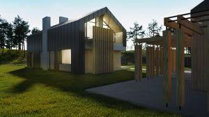 Minimalistyczny dom jednorodzinny z poddaszem użytkowym.