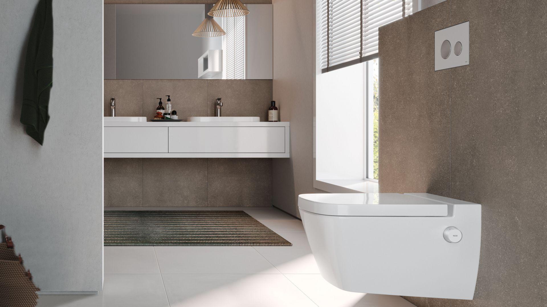 Innowacyjna toaleta myjąca, TECEone; wszystkie przyłącza są ukryte, sterowanie za pomocą dwóch subtelnych intuicyjnych pokręteł. Fot. Tece