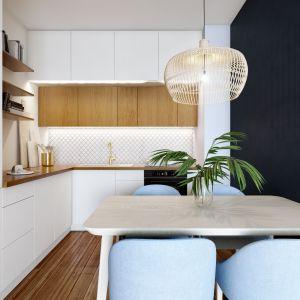 Piękne, przytulne mieszkanie: kuchnia. Projekt: Marta Ogrodowczyk, Marta Piórkowska. Wizualizacja: Elżbieta Paćkowska