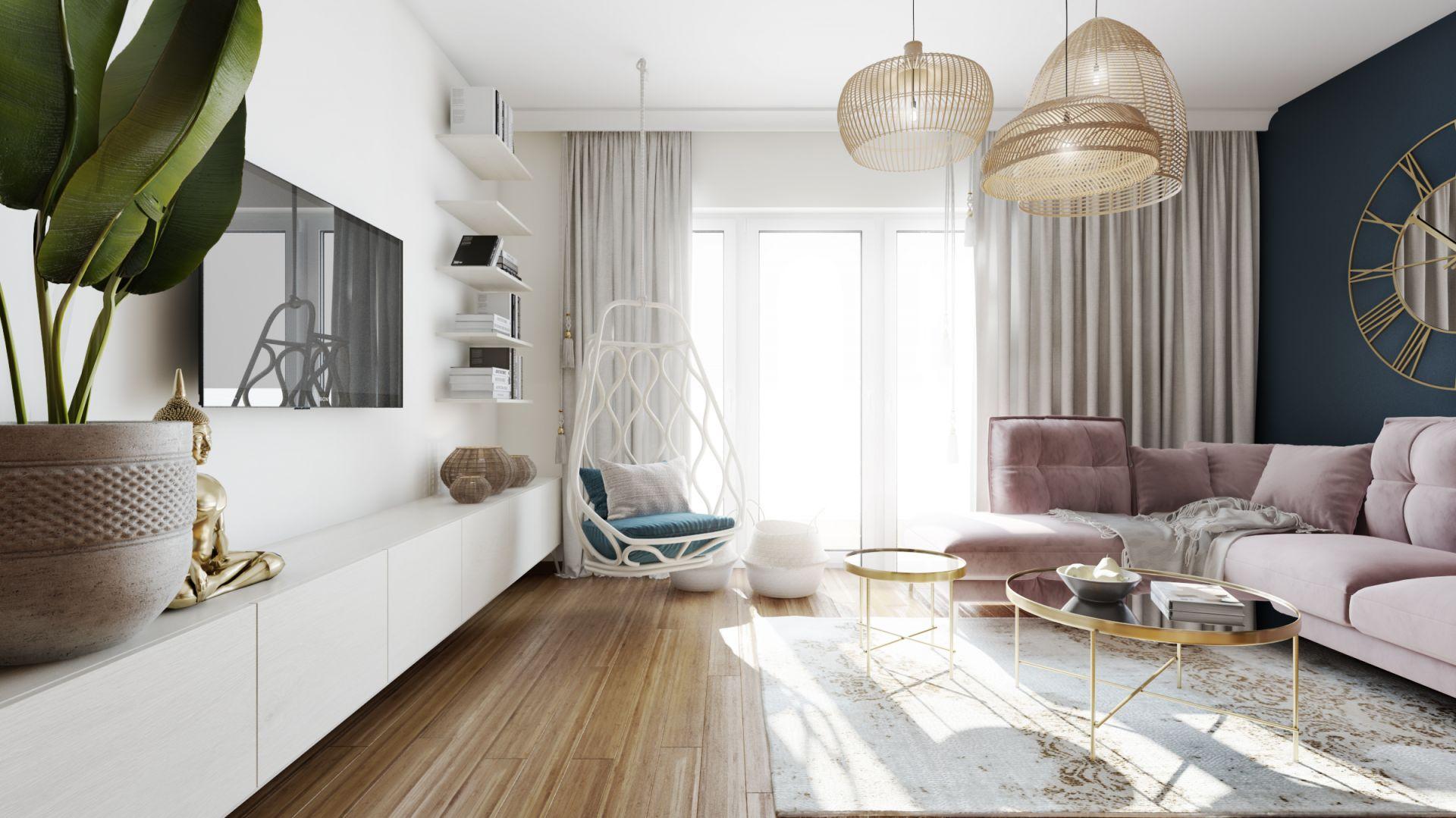 Piękne, przytulne mieszkanie: salon. Projekt: Marta Ogrodowczyk, Marta Piórkowska. Wizualizacja: Elżbieta Paćkowska