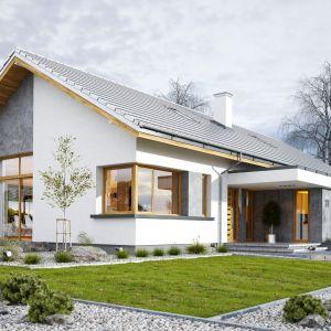 Wymarzony 5 o powierzchni użytkowej 123 m2 to wygodna i nowoczesna willa dla 4-6-osobowej rodziny – funkcjonalna i praktyczna. Budynek jest energooszczędny, ma prostą konstrukcję, będzie łatwy w budowie i tani w utrzymaniu. Dom Wymarzony 5. Projekt: arch. Michał Gąsiorowski. Fot. MG Projekt