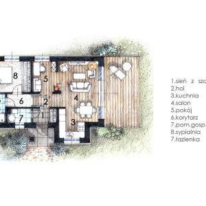 Rzut parteru. Dom Mini 2. Projekt arch. Sylwia Strzelecka. Fot. S&O Projekty Sylwii Strzeleckiej
