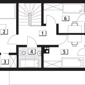 PODDASZE: 43,38 m2 1. hol – 8,27 m2 2. sypialnia – 9,14 m2 3. garderoba – 2,34 m2 4. łazienka – 3,78 m2 5. sypialnia – 9,91 m2 6. sypialnia – 9,94 m2 Rzut poddasza. Dom Malutki dr-S. Projekt: arch. Tomasz Sobieszuk. Fot. Domy w Stylu