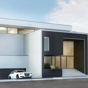 Garaż w bryle budynku możemy ulokować na parterze lub w piwnicy, częściowo bądź całkowicie zagłębiając go poniżej poziomu gruntu. Projekt: Budownictwo i Architektura Marcin Sieradzki – BIAMS