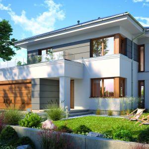 Dom z garażem. Projekt: Arwena. Fot. Dobre Domy