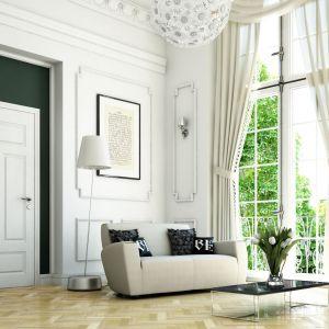 Klasyczna forma i ponadczasowy kolor to sprawdzone rozwiązanie do każdego pomieszczenia. Na zdjęciu drzwi dla miłośników stylu klasycznego i skandynawskiego, dostępne w systemie przylgowym lub bezprzylgowym, z powierzchnią malowaną ekologicznymi farbami akrylowymi z palety RAL i NCS. Cena: od 380 zł. Dostępne w ofercie firmy Pol-Skone. Fot. Pol-Skone