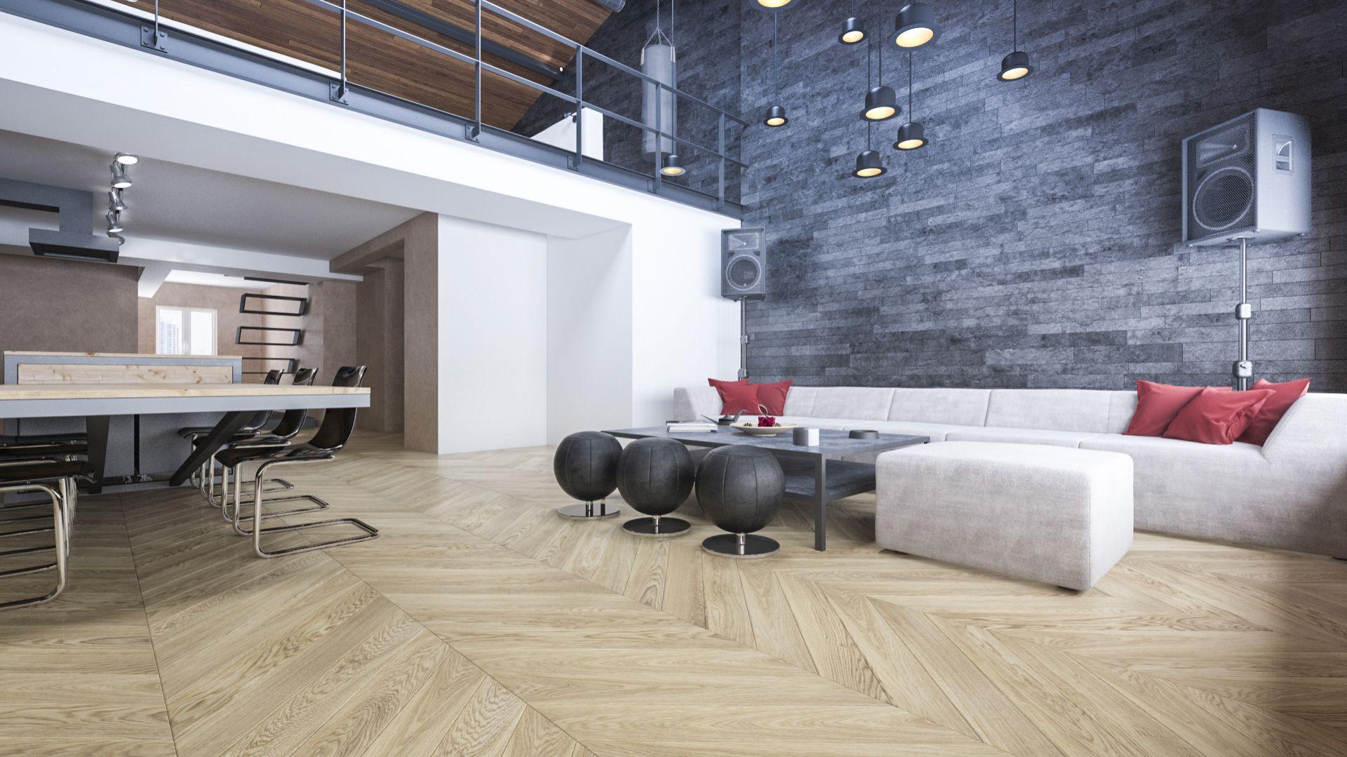 FertigDeska Chevron Dąb Color Alabastro/Jawor-Parkiet. Produkt zgłoszony do konkursu Dobry Design 2020.