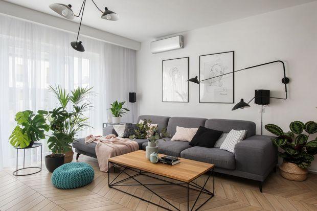 Modny salon: 12 pomysłów na szarą sofę