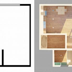 Mieszkanie zostało podzielone na strefy. Aby powiększyć przestrzeń w kawalerce wykorzystano odpowiednie ustawienie mebli i światła. W ten sposób wydzielone zostały kuchnia, jadalnia, salon, miejsce do pracy i sypialnia, która swoje miejsce znalazła w obecnej już przed remontem wnęce. Fot. aledesign.pl