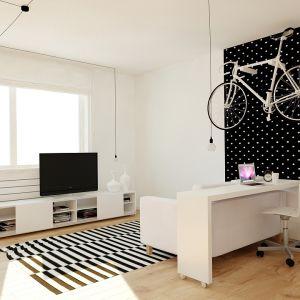 Mając na uwadze nie do końca sprecyzowanego najemcę mieszkania, projektant zdecydował się na neutralną kolorystykę wnętrz. Fot. aledesign.pl