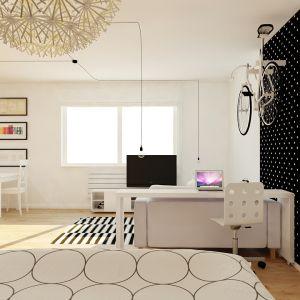 Biel i geometryczne wzory to motywy przewodnie tego wnętrza. Fot. aledesign.pl