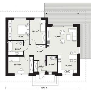 Rzut domu. PARTER: 90,68 m2 1. wiatrołap – 3,51 m2 2. hol – 8,10 m2 3. pokój – 11,83 m2 4. łazienka – 5,80 m2 5. pokój – 12,75 m2 6. pokój – 10,21 m2 7. salon – 24,16 m2 8. kuchnia + jadalnia – 10,26 m2 9. kotłownia – 4,06 m2