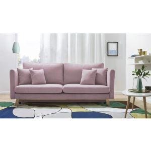 Różowa rozkładana sofa 3-osobowa Bobochic Paris Triplo. Fot. Bonami.pl