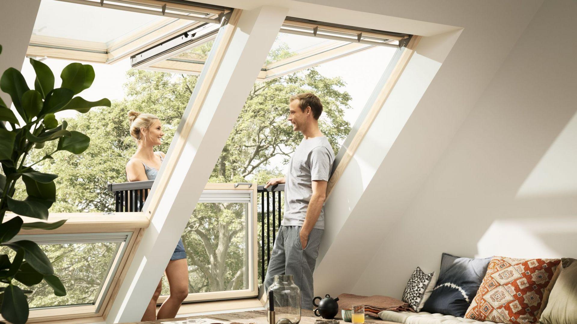 Okna balkonowe to doskonała propozycja dla właścicieli dużych sypialni lub salonów usytuowanych na poddaszu. Fot. Velux