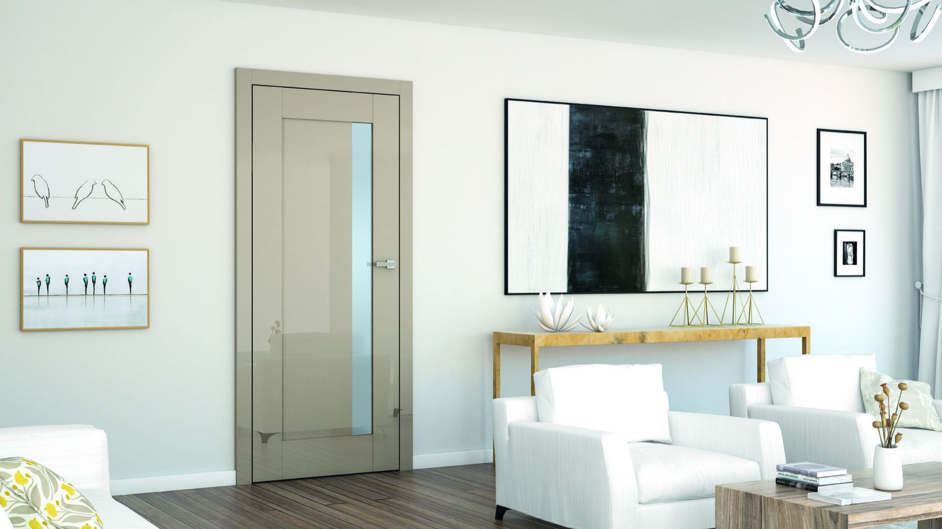 Drzwi DRE Ilis dostępne są w aż 14 kolorach. Dzięki przeszkleniu idealnie sprawdzą się w ciemnych pomieszczeniach np. przedpokoju lub garderobie.