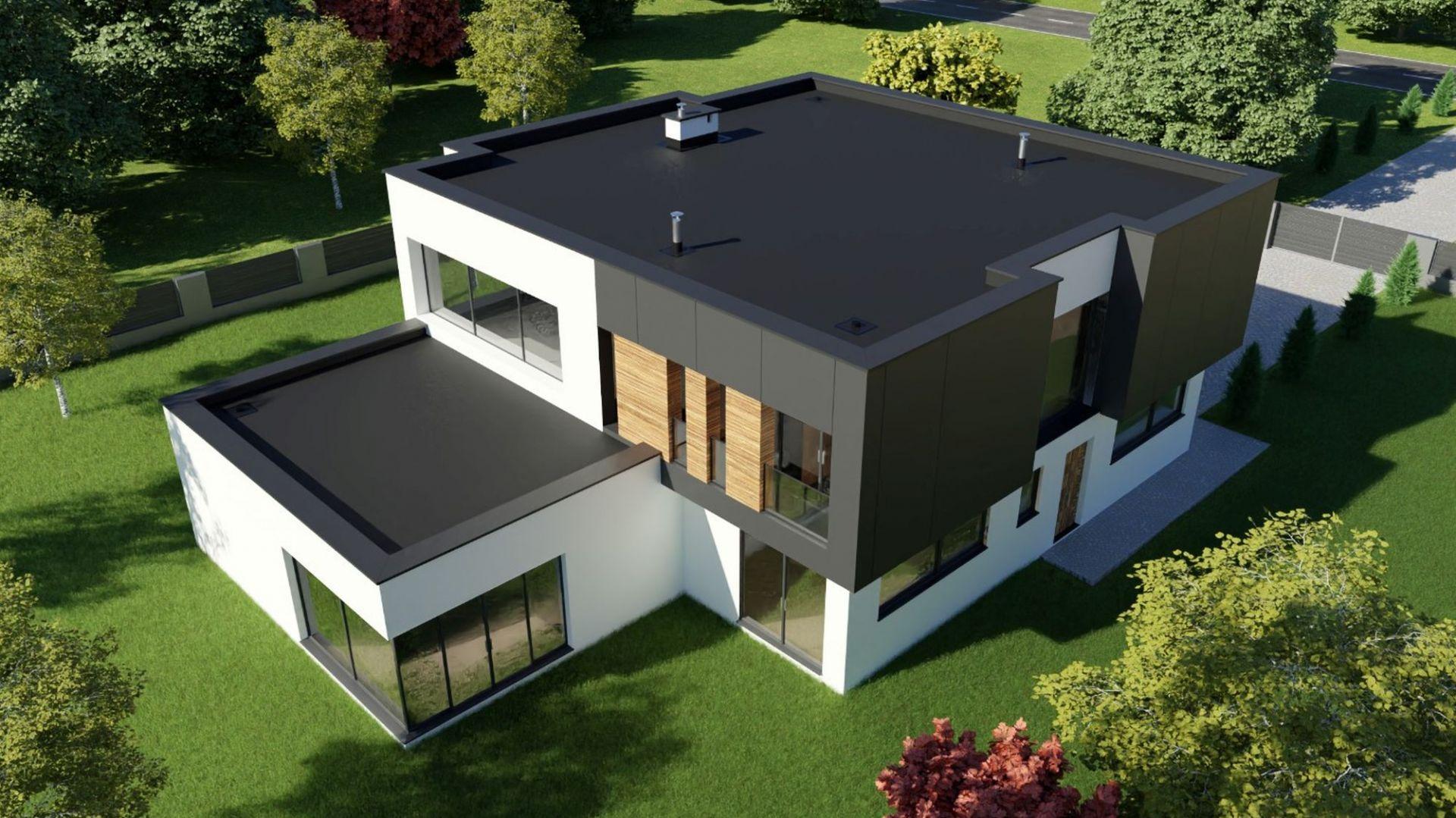 Nowoczesny dach płaski.  Odprowadzenie wody za pomocą systemu Galeco Dachy płaskie. Fot. Galeco