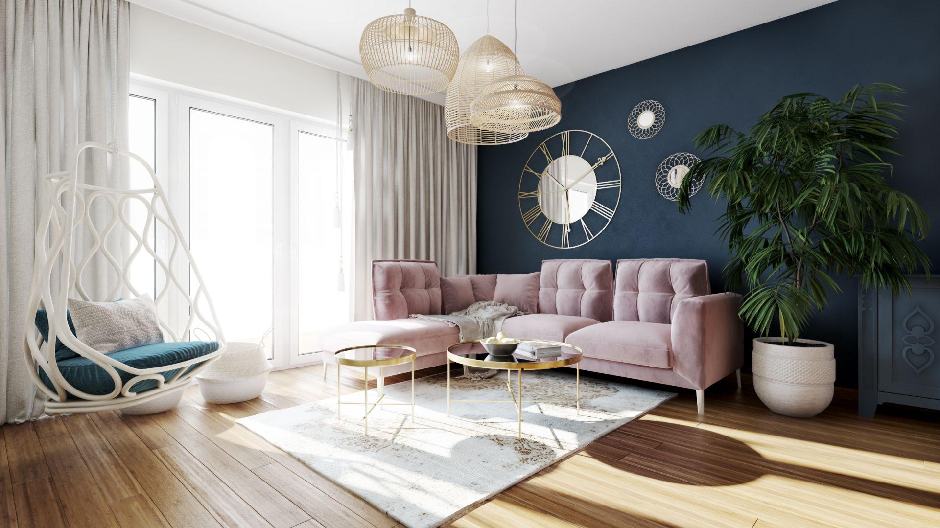 Piękne, przytulne mieszkanie salon. Projekt Marta Ogrodowczyk, Marta Piórkowska. Wizualizacja Elżbieta Paćkowska