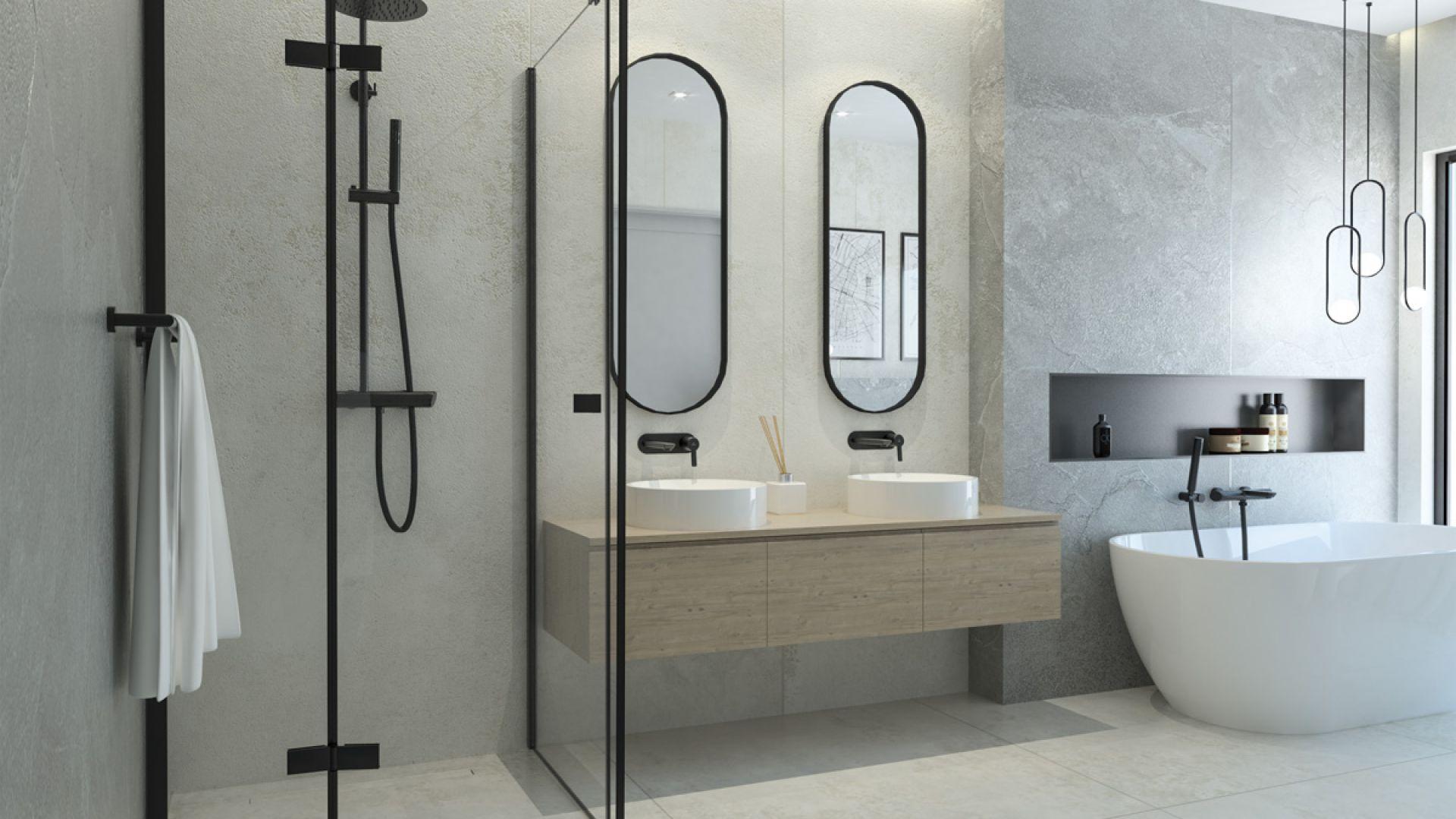 Nowoczesna łazienka w stylu loft. Deante kabina Arnika. Fot. Deante