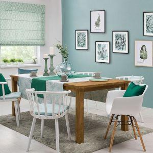 Dekoracja stołu - siedzisko Olek na krzesło, obrus prostokątny Gardenia. Fot. Dekoria