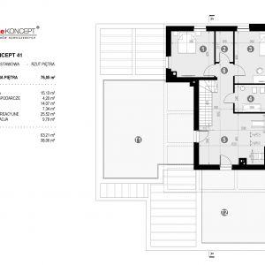 Rzut piętra. Dom HomeKoncept 41. Projekt: Zespół projektowy HomeKoncept. Fot. HomeKoncept
