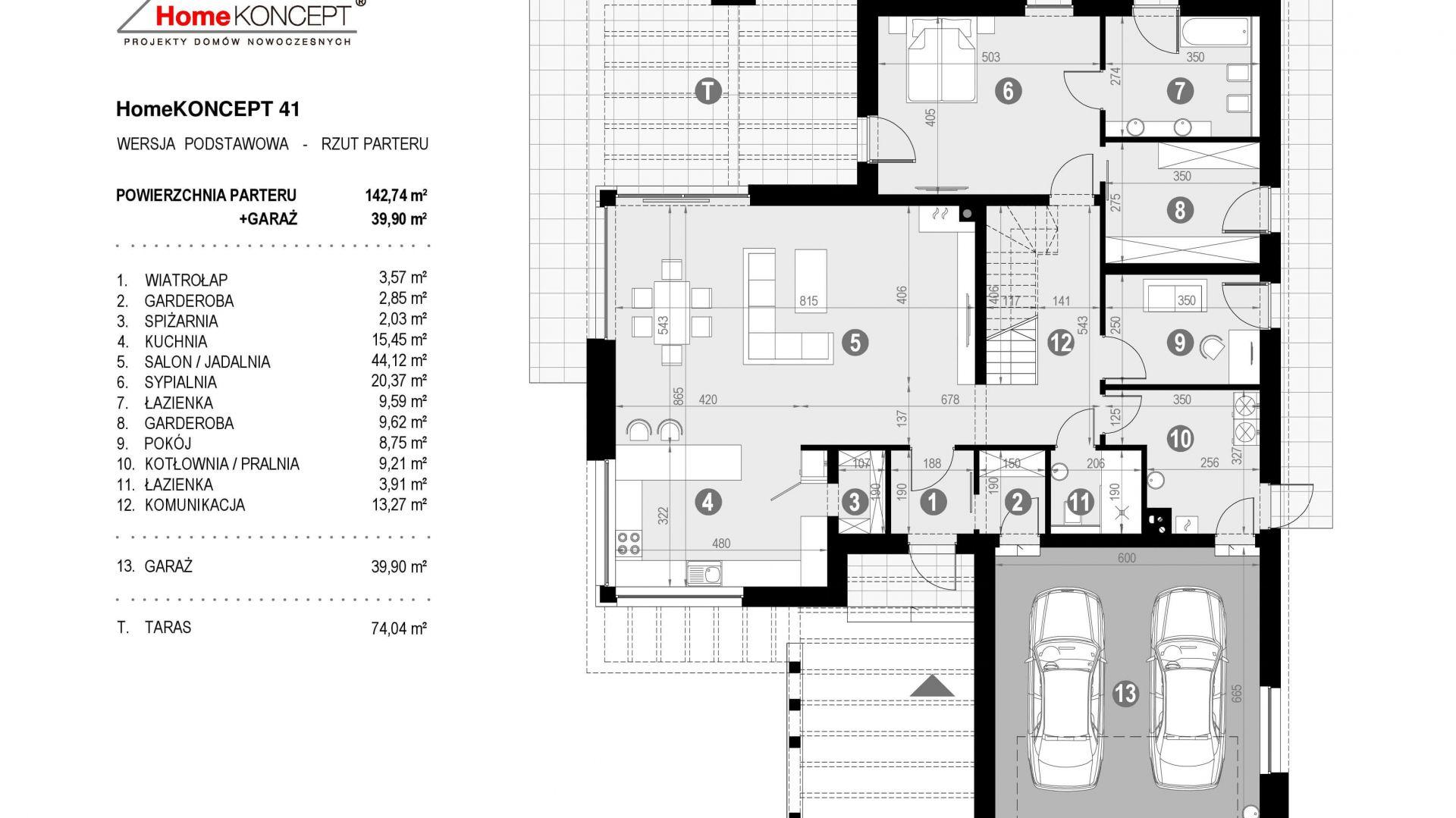 Rzut parteru. Dom HomeKoncept 41. Projekt: Zespół projektowy HomeKoncept. Fot. HomeKoncept