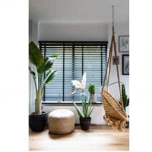 Wykonane z trwałego drewna paulownia żaluzje drewniane dostępne w różnych kolorach lakieru i bejcy; szer. lameli 50 lub 63 cm; ze sznurkiem lub taśmą drabinkową; dostępne także z napędem. Fot. Jasno