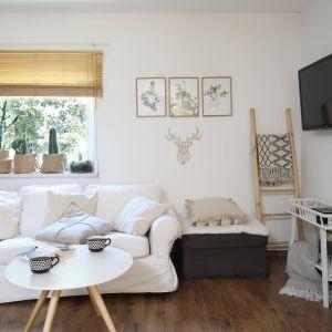 Optyczne powiększenie wnętrza udało się uzyskać dzięki dobrze dobranej kolorystyce ścian. Projekt: Justyna Majewska, Biały Domek Home Decor Justyna Majewska. Fot. Bartosz Jarosz