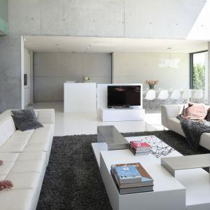 Monolityczne szare ściany idealnie współgrają z białą jednorodną płaszczyzną podłogi. Projekt: arch. Hanna i Seweryn Nogalscy, Beton House Architekci. Fot. Bartosz Jarosz