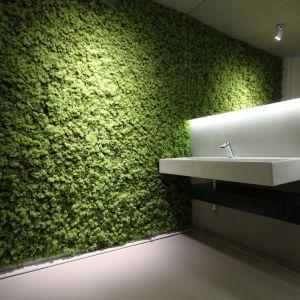 W łazience na parterze jedną ze ścian ozdobiono żywym mchem. Projekt: arch. Hanna i Seweryn Nogalscy, Beton House Architekci. Fot. Bartosz Jarosz