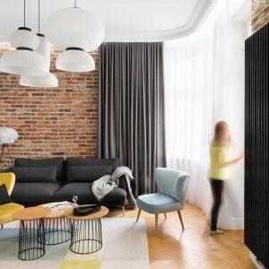 W strefie wypoczynkowej zaaranżowany jest kącik z sofą i fotelami, a na przeciwległej ścianie miejsce na TV. Projekt: Anna Maria Sokołowska. Fot. Paweł Mądry