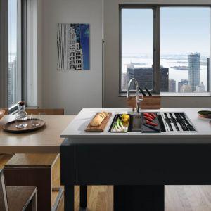 Franke Center Box łączy zlewozmywak i miejsce na zestaw akcesoriów: noży kuchennych, desek do krojenia oraz wkładki ociekowej. Dostępny w ofercir firmy Fot. Franke