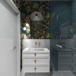 Łazienka z tapetą. Fot. Pracownia Architektoniczna MGN