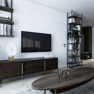 Mieszkanie o powierzchni 46 metrów kwadratowych: salon. Projekt: Marta Ogrodowczyk, Marta Piórkowska. Wizualizacja: Elżbieta Paćkowska