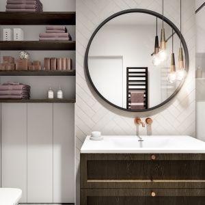 Mieszkanie o powierzchni 46 metrów kwadratowych: łazienka. Projekt: Marta Ogrodowczyk, Marta Piórkowska. Wizualizacja: Elżbieta Paćkowska