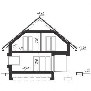Przekrój domu. Dom w zdrojówkach. Projekt: Zespół Projektowy Archon+, Fot. Archon+