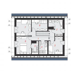 PODDASZE: 63,69 m2 (80,29 m2)  1. hol i schody – 11,75 m2 (11,75 m2)  2. łazienka – 7,68 m2 (9,37 m2)  3. pokój – 10,36 m2 (12,05 m2)  4. pralnia – 4,16 m2 (6,00 m2)  5. garderoba – 2,72 m2 (4,18 m2)  6. pokój z garderobą – 11,18 m2 (14,42 m2)  7. pokój 9,67 m2 – (12,90 m2)  8. pokój 6,17 m2 – (9,62 m2)