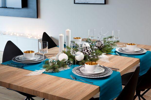 Piękna jadalnia: zastawa na świąteczny stół