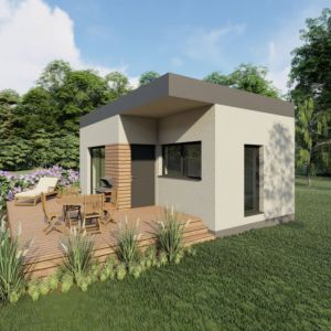 Dom składać się będzie z kuchni połączonej z salonem, oddzielnej sypialni i łazienki. Fot. Wood Core House