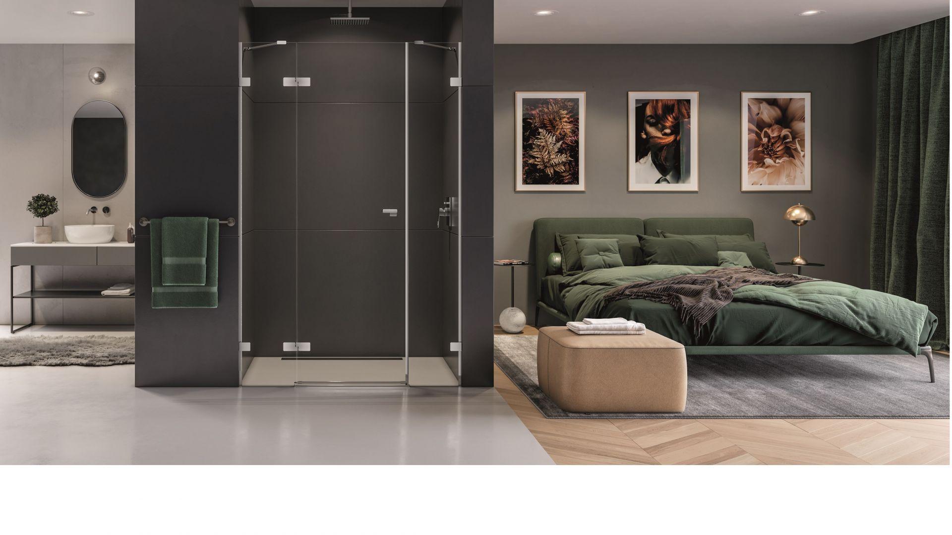 Minimalistyczna kabina prysznicowa z serii Eventa  ze szkła 8 mm z powłoką Active Shield, zawiasy zlicowane z taflą szkła. Fot. New Trendy