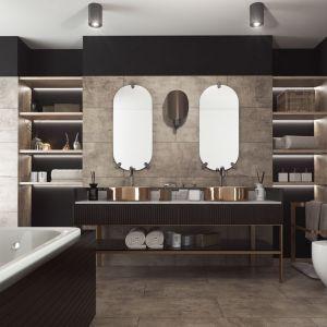 Płytki kompozytowe Ceramin Vario Kalkputz Braun są świetną bazą do aranżacji łazienki w stylu Coco Chanel. Fot. Classen.
