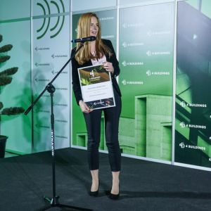 """Agnieszka Kalinowska-Sołtys, APA Wojciechowski odbiera nagrodę w kategorii """"Ludzie – architekt"""". Fot. PTWP/Michał Oleksy"""