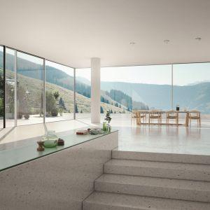 Aluminiowe drzwi przesuwne Schüco ASS 77 PD o szer. do 320 cm i wys. do 350 cm dają efekt panoramicznych widoków na otoczenie. Fot. Schüco,