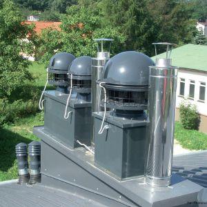Крышки дымоходов, используемые в гибридных вентиляционных системах, работают по принципу создания низкого отрицательного давления в вытяжных каналах - подобно тому, как это было создано естественным путем.  Рис.  универсальный