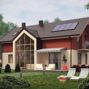 Domy z poddaszem użytkowym i piętrowe pozwalają na zastosowanie ogromnych przeszkleń. We wnętrzu z takimi oknami możemy zaprojektować bardzo elegancki i efektowny salon. Proj. D15, Artinex Architektura, Wnętrza – Projekty i Realizacje