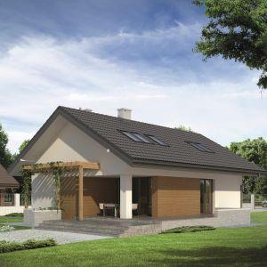Pergola łączy w sobie funkcje ozdobną z praktyczną. Stanowi ciekawy element architektoniczny, urozmaicający bryłę budynku, a jednocześnie podpiera rośliny i tworzy strefę cienia. Projekt: Amarant. Fot. MTM Styl