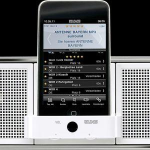 Centrum muzyczne montowane na ścianie to stacja dokująca dla odtwarzaczy mp3 i urządzeń iPod i iPhone. Posiada ono wyjście line-out do podłączenia systemu Hi-Fi lub multiroom, a także wejście stereo line-in dla zewnętrznych odtwarzaczy muzycznych. Fot. Jung