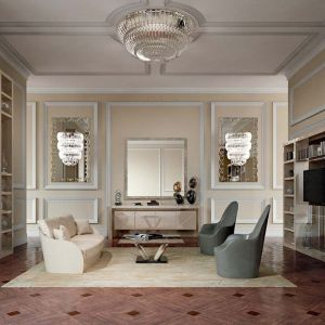 W glamour nie brakuje kryształowych elementów zdobiących ogromne żyrandole. Fot. Galeria Heban