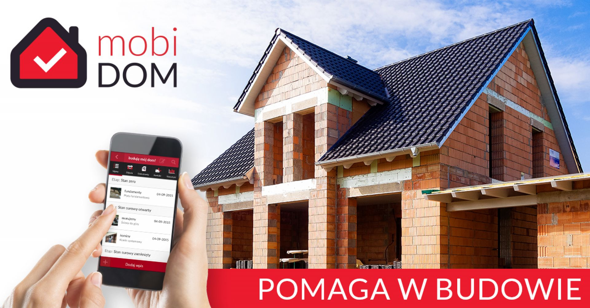 Aplikacja mobiDOM została stworzona z myślą o wszystkich, którzy budują dom jednorodzinny. Po zalogowaniu, użytkownik otrzymuje dostęp do kompleksowego przewodnika, który krok po kroku prowadzi go przez poszczególne etapy inwestycji. Fot. mobiDOM